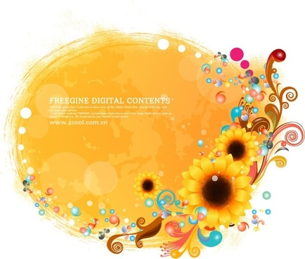 sunflower and colorful background pattern vector