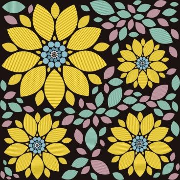 sunflower background multicolored flat design