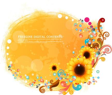 sunflower decorative pattern background design elements