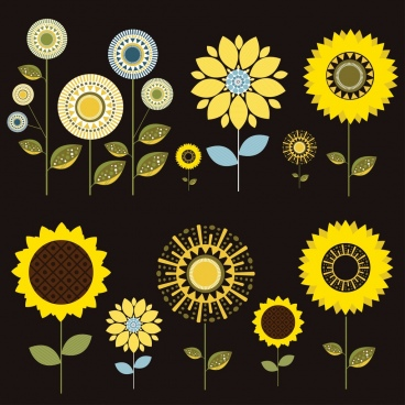 sunflower design elements dark colored flat design