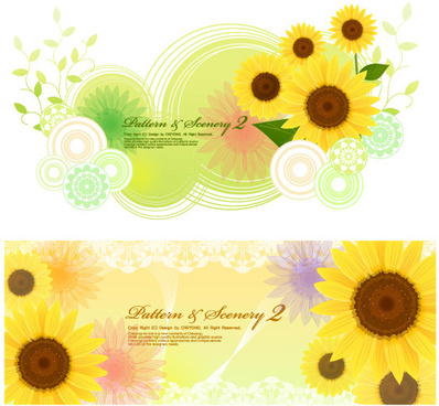sunflower fantasy background vector