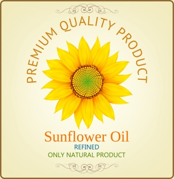 sunflower oil advertisement yellow petal icons decor