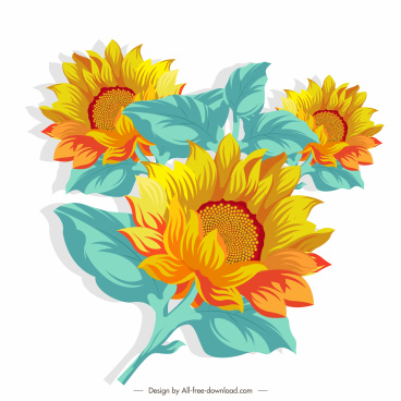 sunflower painting colorful vintage sketch