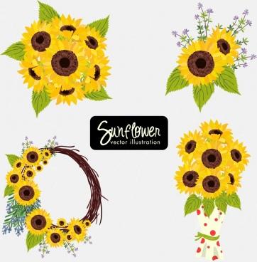 sunflowers decorative icons multicolored design