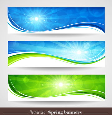 sunlight with nature banners vector