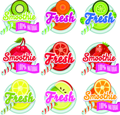 sunner fruits drinks fresh labels vector