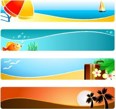 beach background templates colorful horizontal design symbols decor