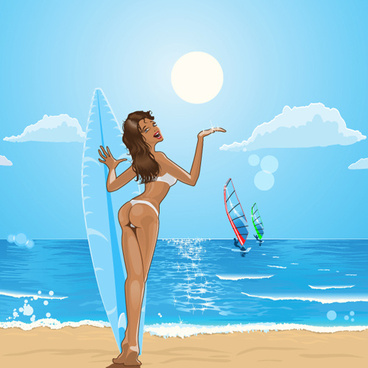 sunny beach design vector background