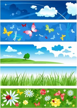 nature background templates clouds butterflies grass flowers decor
