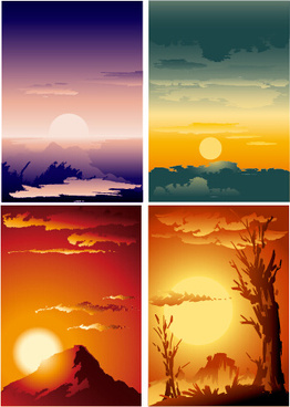 sunrise and sunset design background vector
