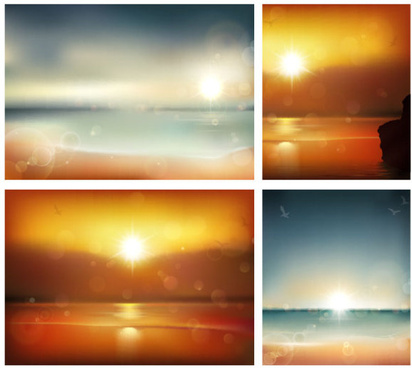 sunrise at sea background vector graphics