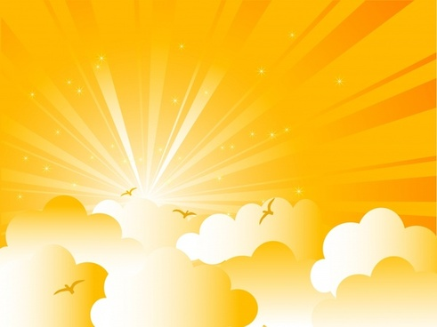 sunrise clouds cartoon background vector