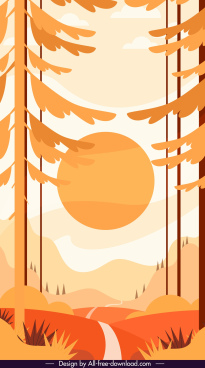 sunrise painting flat colored classic design