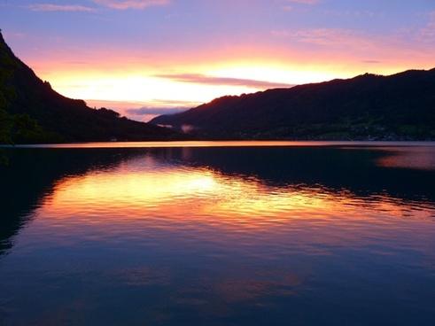 sunset abendstimmung see