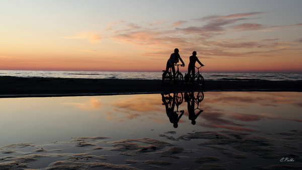 sunset and bikers
