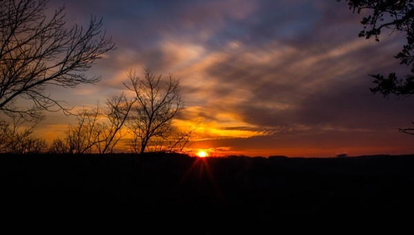 sunset at yellow river state forest iowa with clouds