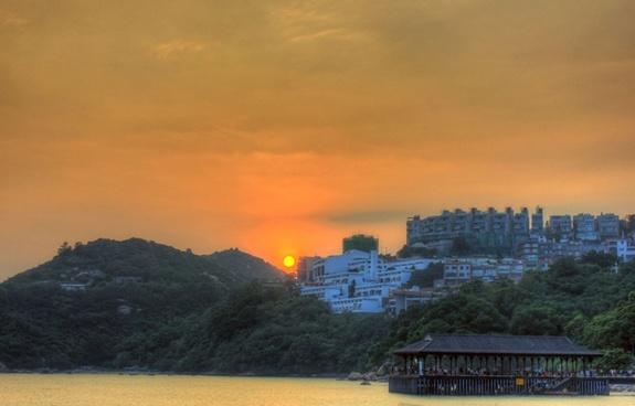 sunset behind hotels in stanley hong kong china