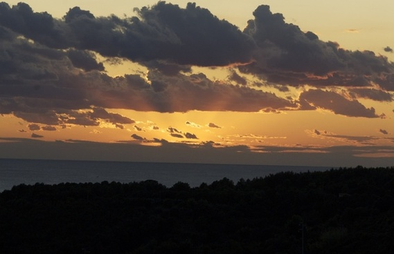 sunset clouds sea