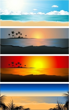 sunset coast landscape vector