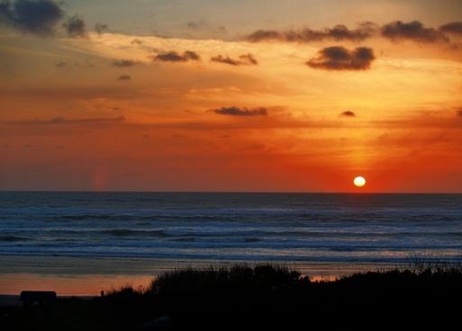 sunset coast shoreline