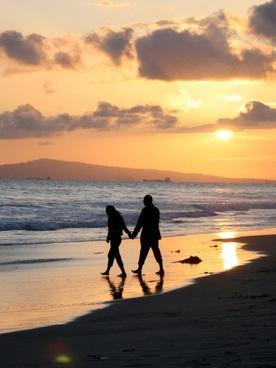 sunset couple stroll