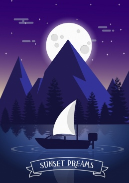sunset drawing moonlight sail lake icons violet design