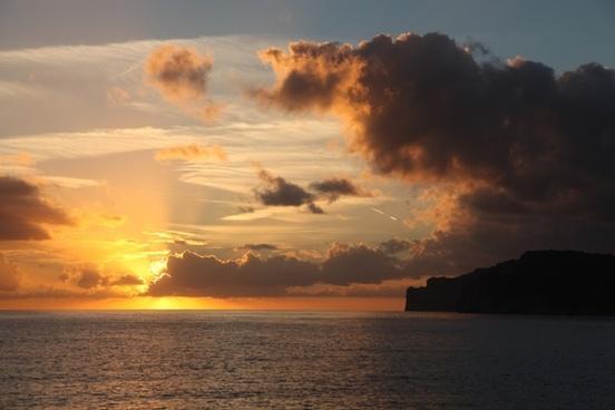 sunset evening sky sea