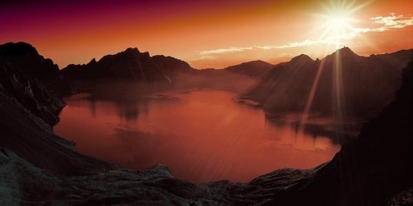 sunset lake mountain