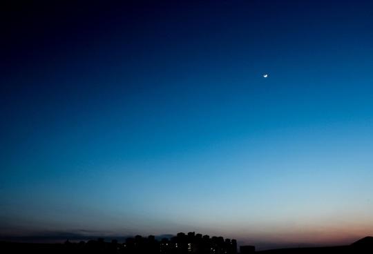 sunset landscape moon