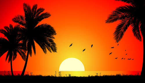 sunset landscapes beautiful vector background