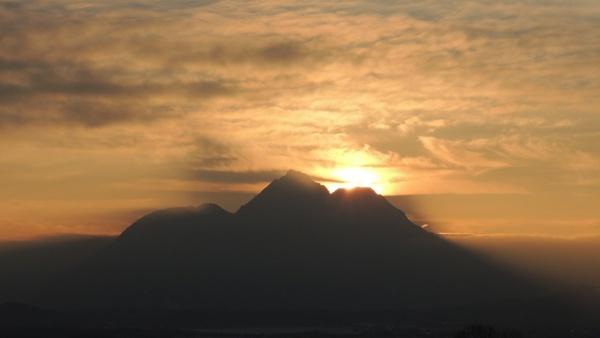 sunset mountain sky