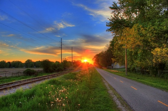 sunset on the biking trail in southern wisconsin