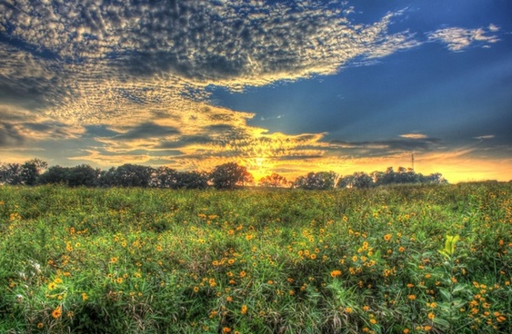 sunset on the prairie at chain o lakes state park illinois