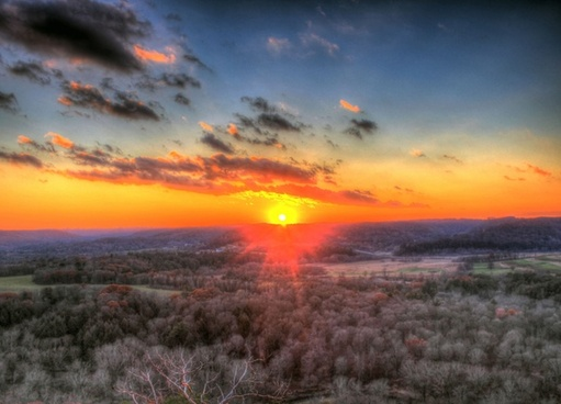 sunset over kickapoo river valley at wildcat mountain state park wisconsin