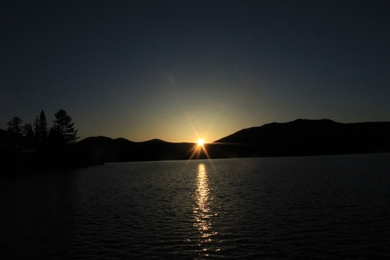 sunset over lake placid in the adirondack mountains new york