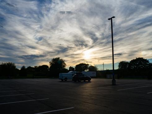 sunset over parking lot