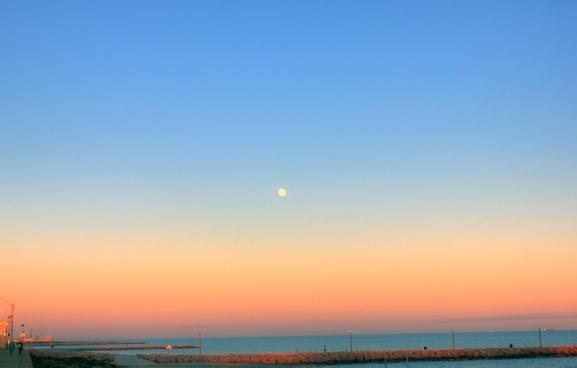 sunset over the gulf at galveston texas