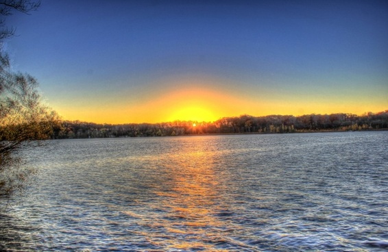 sunset over the lake at kettle moraine north wisconsin