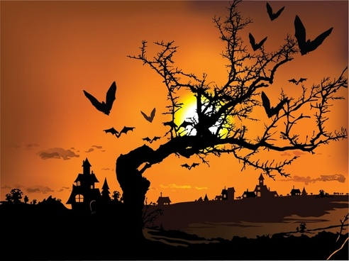 halloween background dark sunset castle bats tree icons decor