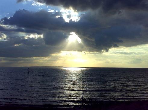 sunset sea ocean