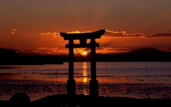 sunset shrine sea