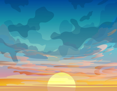 sunset sky painting colorful classical design