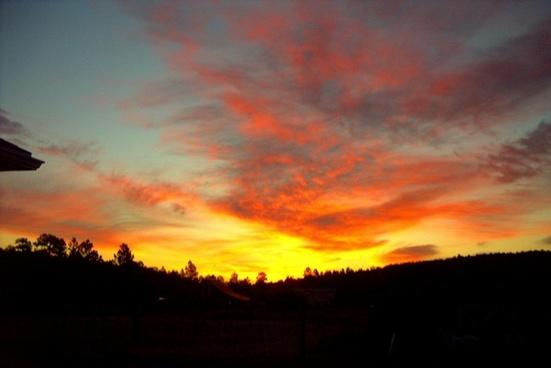 sunset sky red