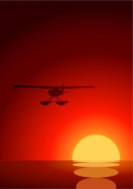 sunset painting airplane icon dark red design
