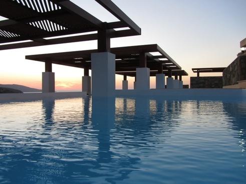 sunset swimming pool hotel