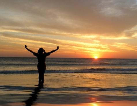 sunset woman joy