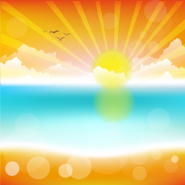 sunshine landscape drawing bright colorful bokeh design