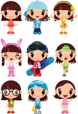 super cute cartoon girl vector