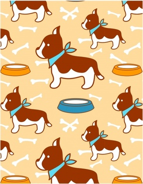 puppy pattern cute flat repeating decor