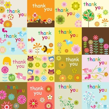 super cute thank you card vector